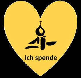 Spendenbutton Logo Kirchengemeinde in gelbem Herz
